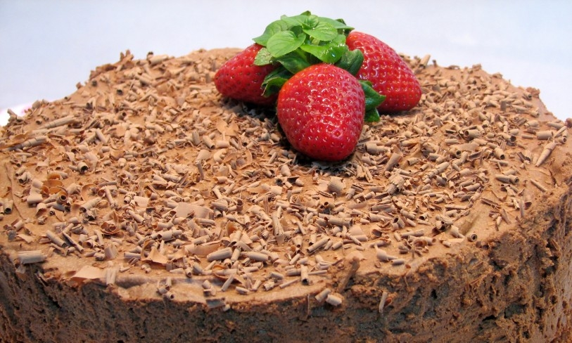 Tarta con mousse de chocolate